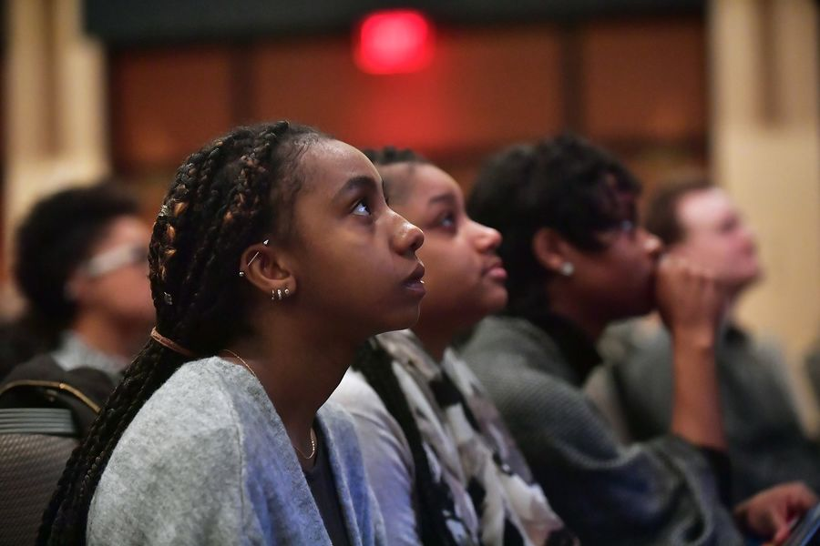 Kent State students listen to the keynote speaker during the university