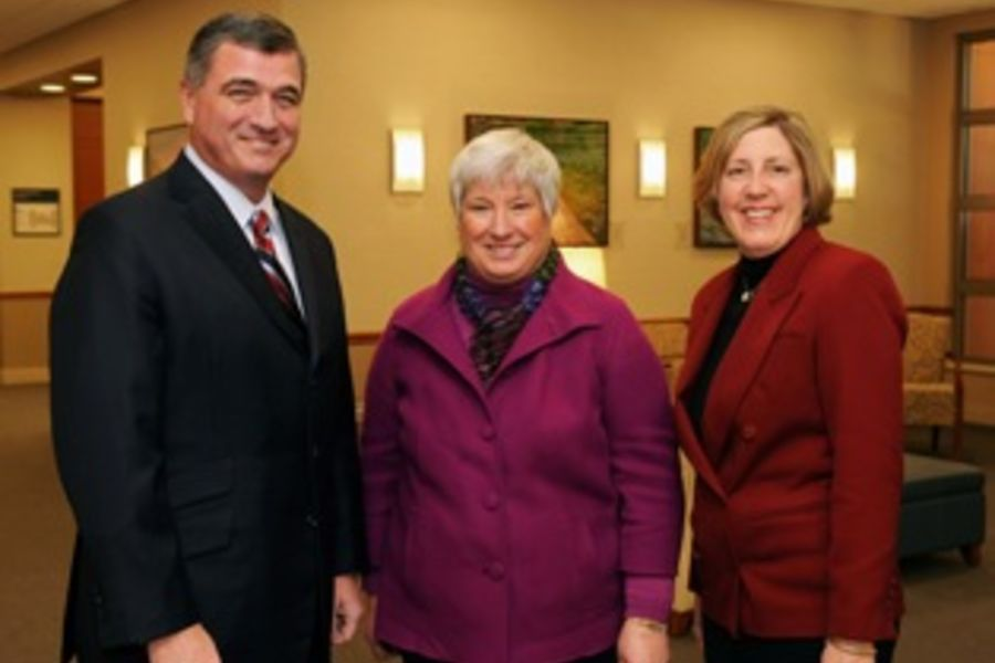 Morris Beverage, Susan Stocker, and Mary Ogrinc at Lake Health's TriPoint Medical Center.