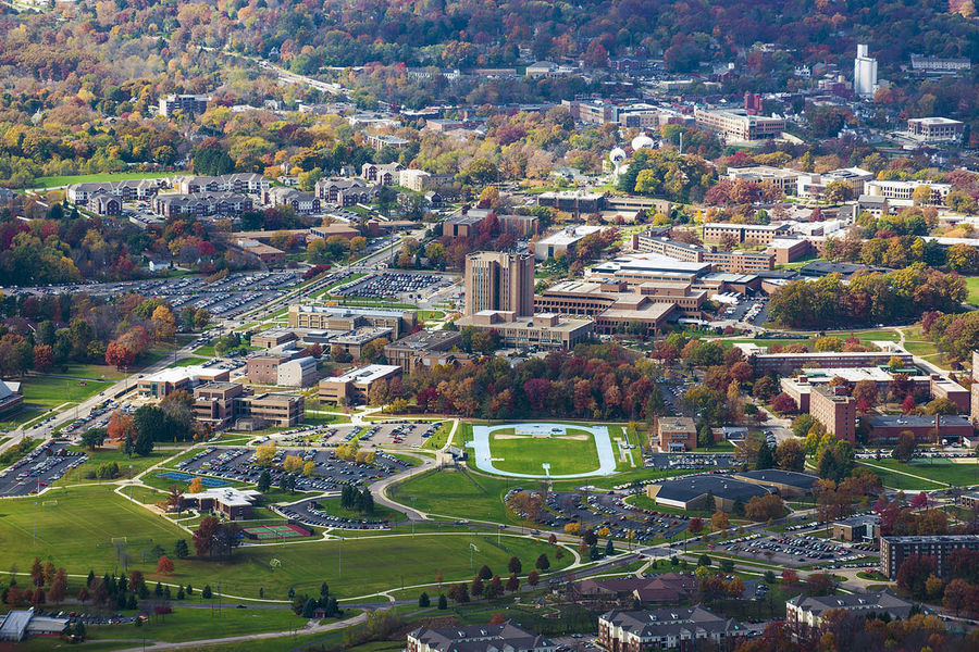 A colorful, fall aerial photo of the campus of Kent State, taken from a university aircraft, helps show why the university has received the Tree Campus USA recognition for a ninth consecutive year.