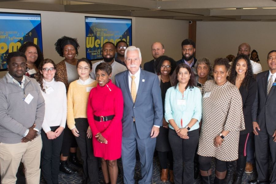 Kent State University employees pose for a group photo during the 2019 New Hire Diversity Luncheon held on Nov. 6, 2019.