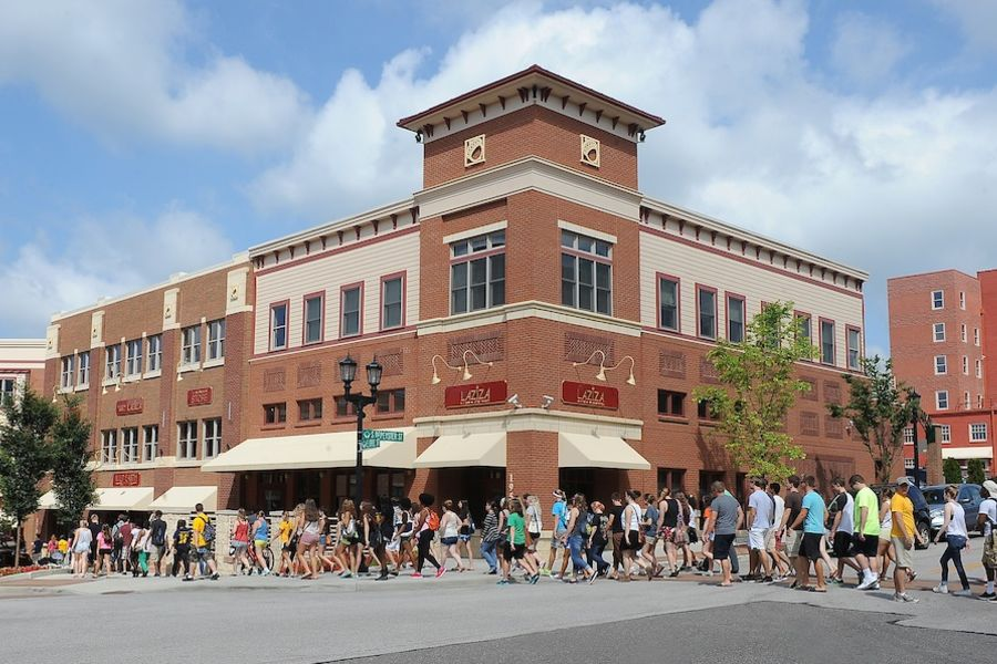 Kent State University students explore downtown Kent.