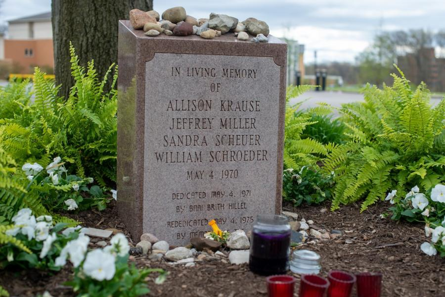 The names of those killed on May 4, 1970, are displayed on the B'nai B'rith Hillel Marker in the parking lot of Prentice Hall on the campus of Kent State University. In addition to this marker, there are four markers in remembrance of the killed students.