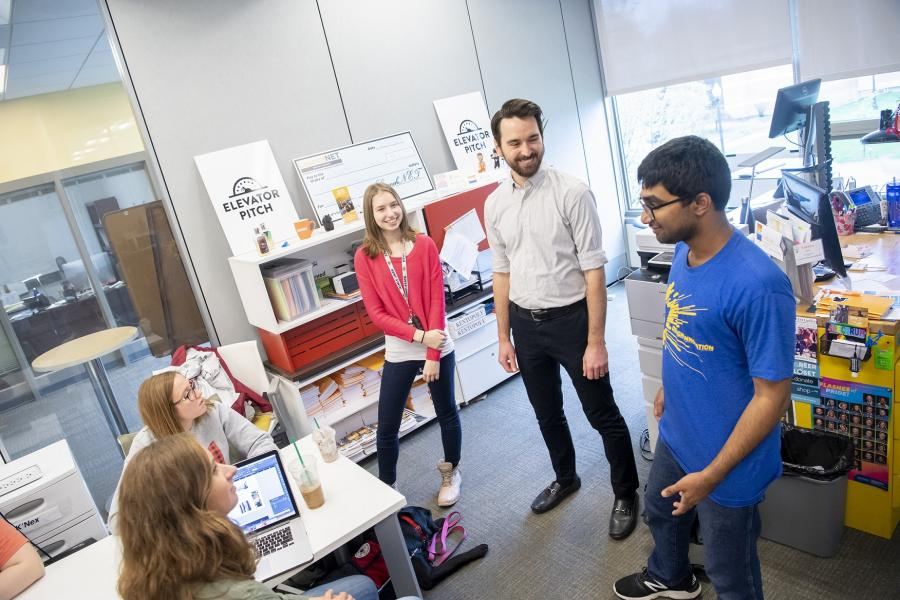 Kent State University students in LaunchNET Kent State office in spring 2019