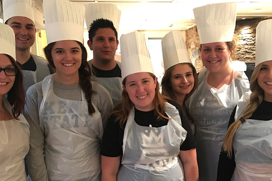 The Kent State Hospitality Management students participate in a pizza-making class at Eataly Firenze, one of the internship sites in Florence, Italy.