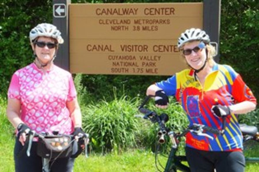 Ann Jacobson and Peggy Doheny at the Portage Hike and Bike Trail
