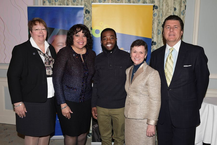 Pictured (left to right) are Barb Smith of KeyBank; Margot Copeland of KeyBank Foundation and Kent State Board of Trustees; Kent State student Jordan Wilkins; Kent State President Beverly Warren; and Kent State Foundation Board Chair Gary Brahler.