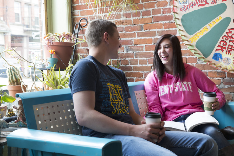 Ashtabula campus students chat together at a local coffee shop
