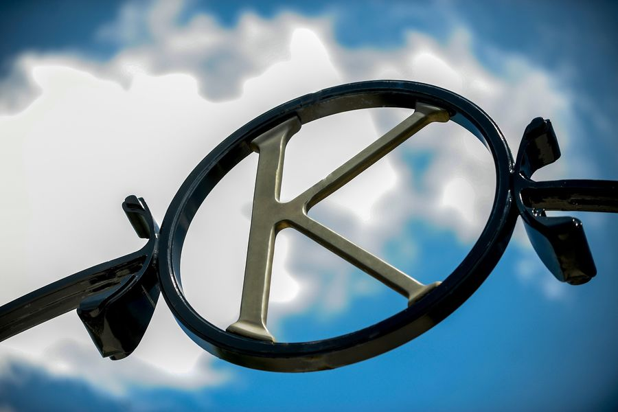 """Photo of the """"K"""" atop of Prentice Gate"""