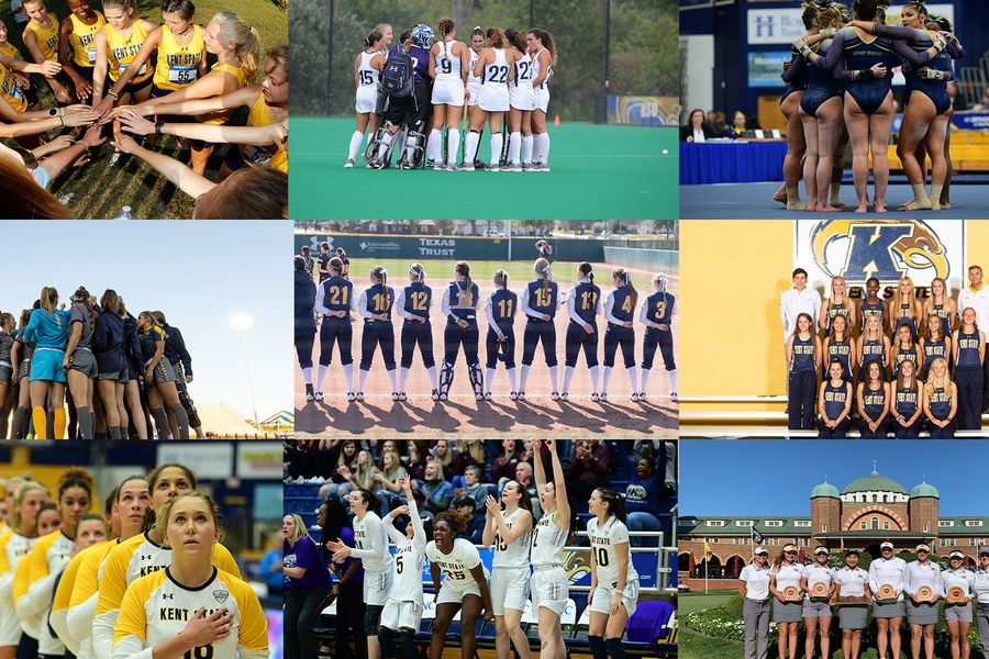 Photo collage of Kent State women