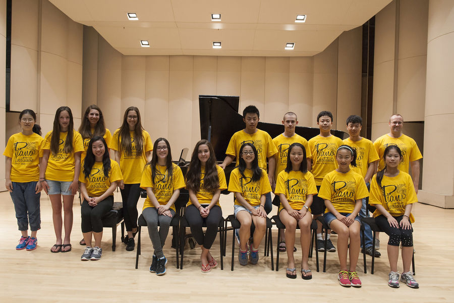 Piano Institute participants from last year pose for a group photo. The highly gifted pre-collegiate pianists came from the United States, China, Honduras and China to Kent State University.