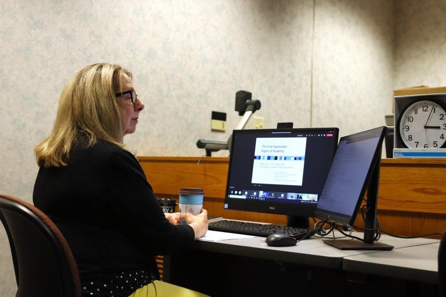 Laura Davis, Ph.D., attends a virtual May 4 workshop.