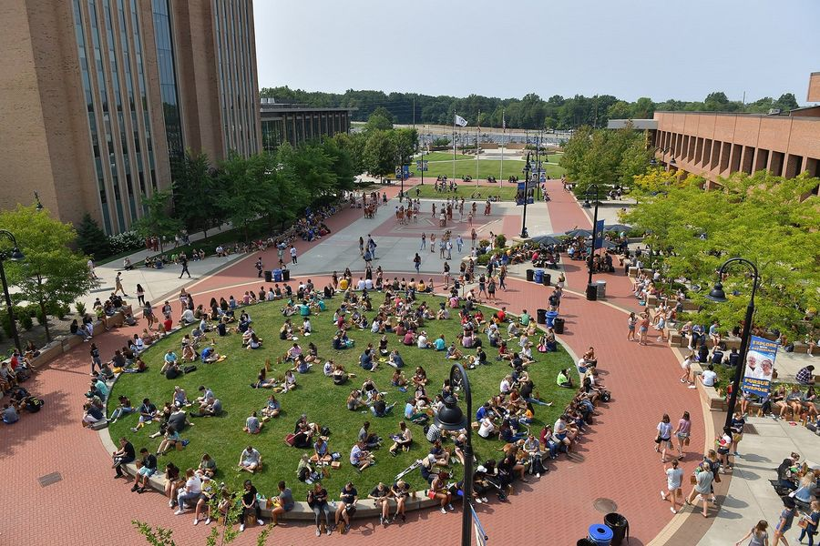 Kent State University students fill Risman Plaza in front of the Kent Student Center at the start of the fall 2018 semester. Once again, Kent State ranks in the top tier of the Best National Universities list released by U.S. News & World Report.