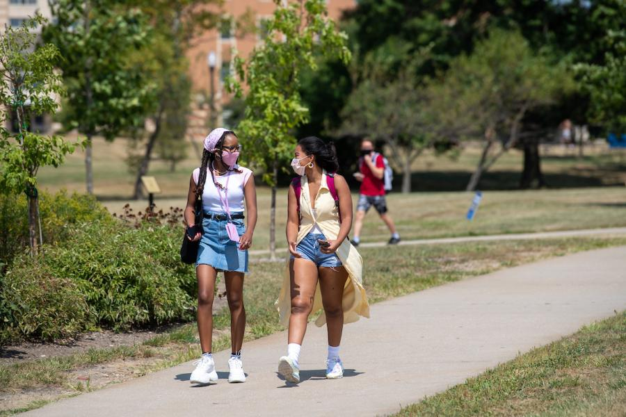 Kent State University students make their way across campus during the 2020 Fall Semester.
