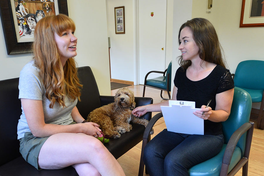 Mary Beth Spitznagel, Ph.D. (right), a clinical neuropsychologist and associate professor at Kent State University, talks with a pet owner.