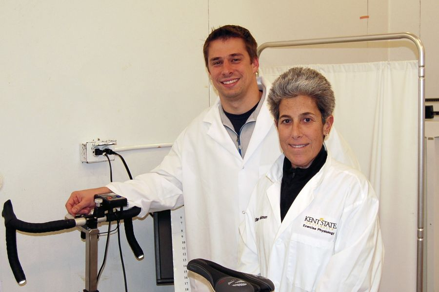 Kent State University's Adam Jajtner, Ph.D., and Ellen Glickman, Ph.D., stand in their research lab. The two exercise science/physiology faculty members will lead a study related to the use of probiotics and physical exercise.