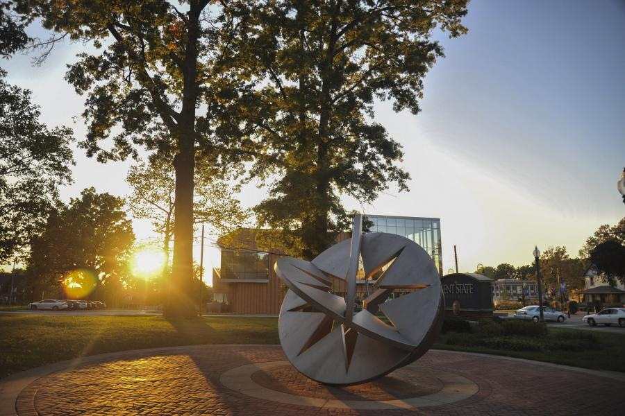 Photo of the Starsphere 2010 sculpture on the Kent Campus