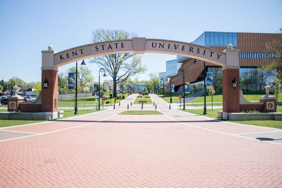 Photo of the arch on the Lefton Esplanade at Kent State University