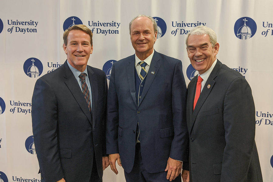 Ohio Lt. Gov. Jon Husted, Kent State University President Todd Diacon and Ohio Department of Higher Education Chancellor Randy Gardner smile at a press conference announcing the new Choose Ohio First award recipients.