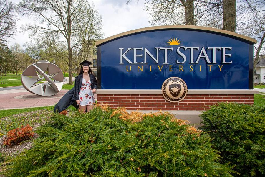 Photo of a graduating Kent State student from spring 2020