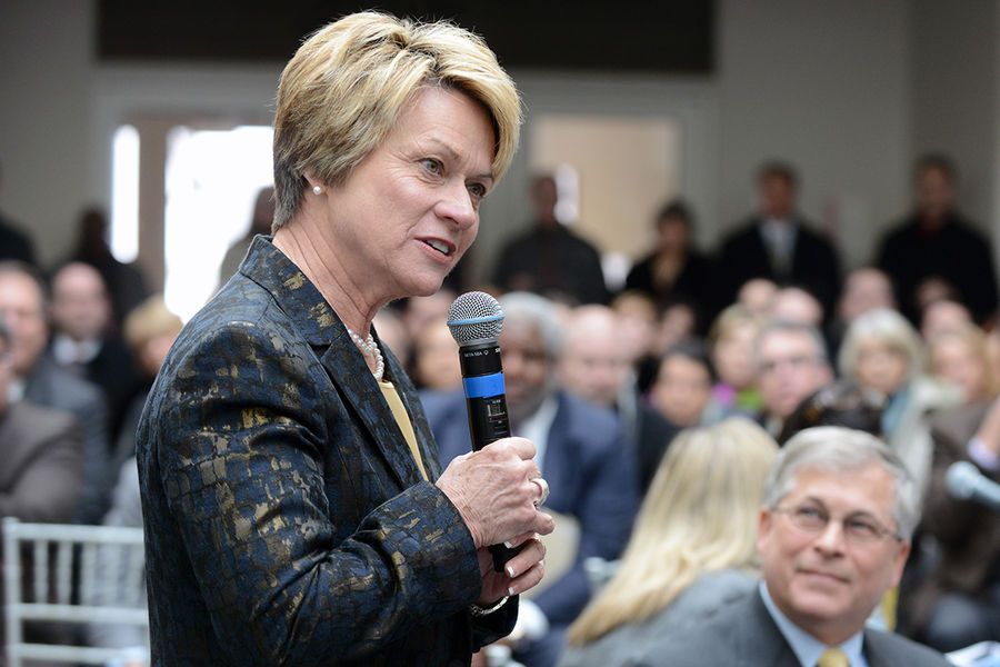 Members of the Kent State community listen as Dr. Beverly J. Warren gives remarks after being elected the 12th president of Kent State University.