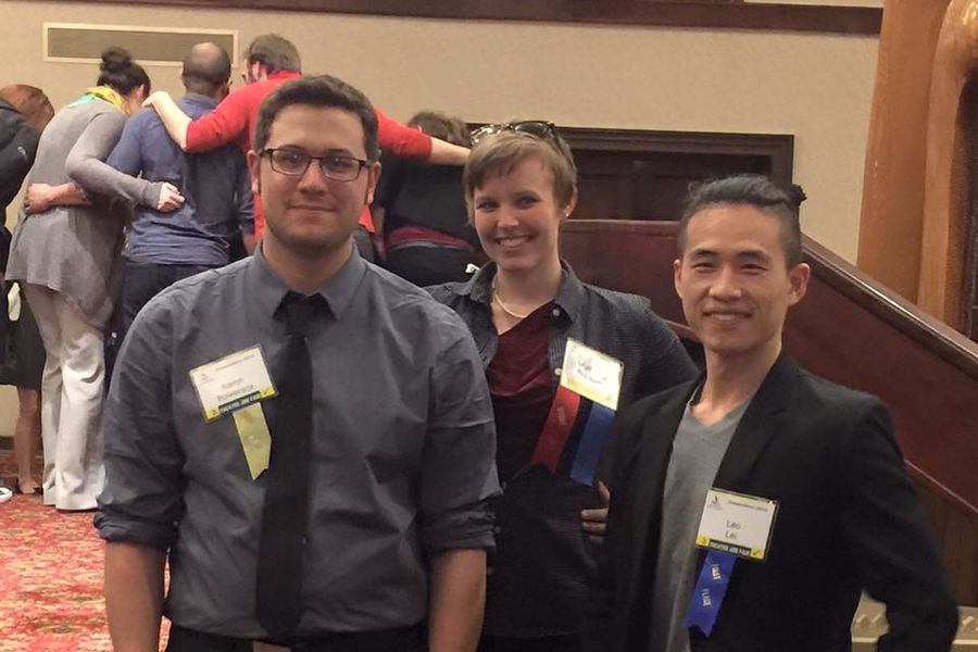"""Yu Leo Lei (far right) was awarded first place at SETC for his lighting design of """"Side Show"""""""