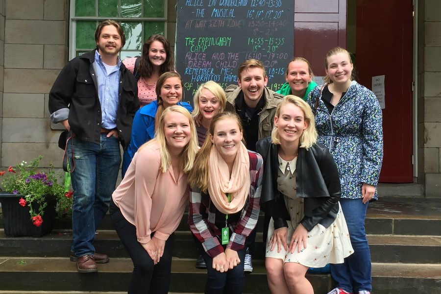 Students and assistant professor Amy Fritsche at the Edinburgh Festival Fringe