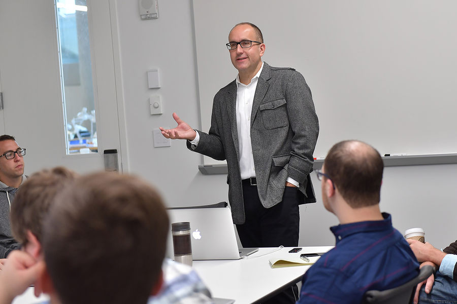 Jon Yoder, Ph.D., associate professor of architecture at Kent State, teaches a seminar in the new Center for Architecture and Environmental Design.