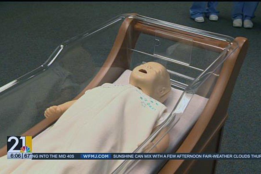 Student Nurses presented the hospital with more than a dozen safe sleep sacks.