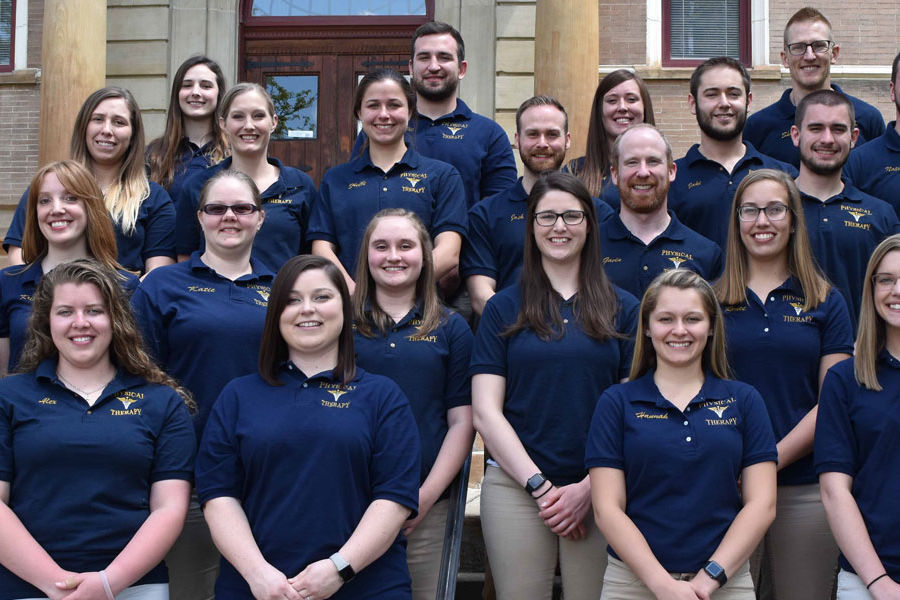 The 2018 PTA Class from Kent State East Liverpool gathered on the last day of classes on the steps of the Carnegie Library.