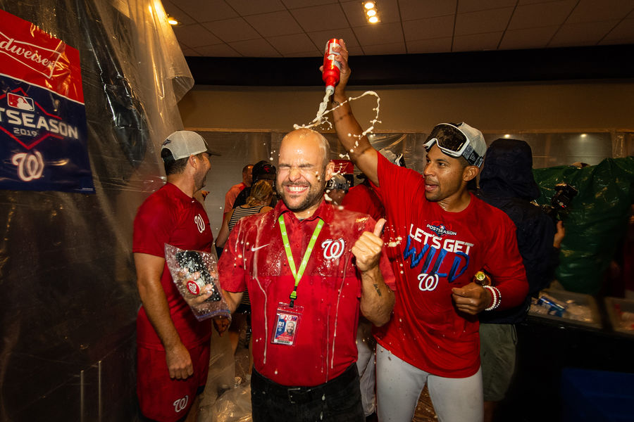 Celebration! Dan Armelli is doused with champagne during the Washington Nationals Oct. 15 celebration of winning the National League pennant.