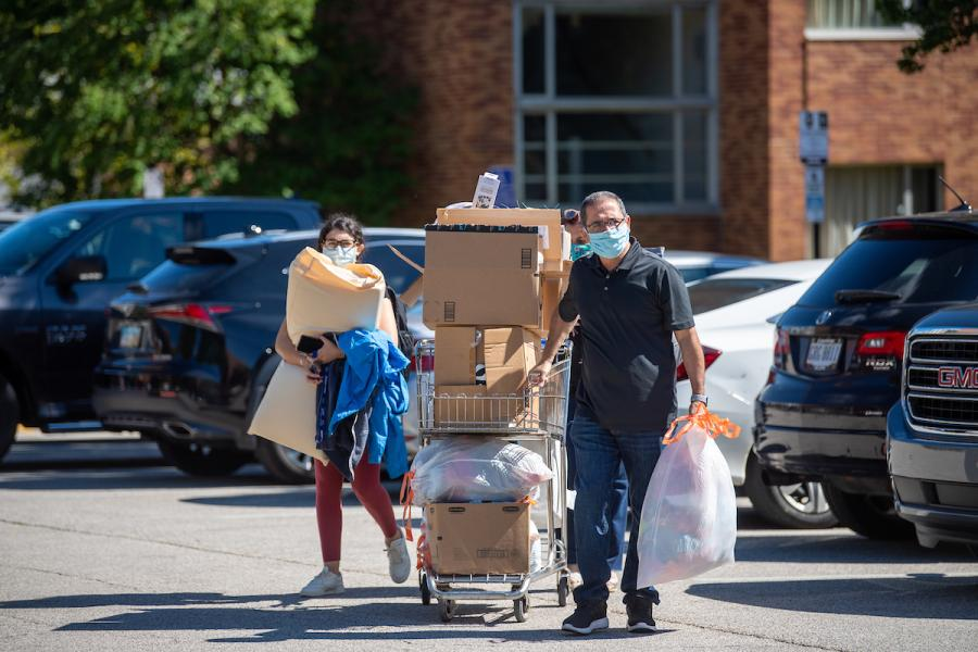 Kent State students begin moving into residence halls on Aug. 19, 2020.