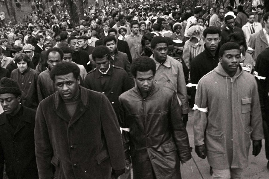 A student walkout in 1968 contributed to the launch of Black United Students (BUS), which is commemorating 50 years at Kent State. (Photo from the collection of E. Timothy Moore)