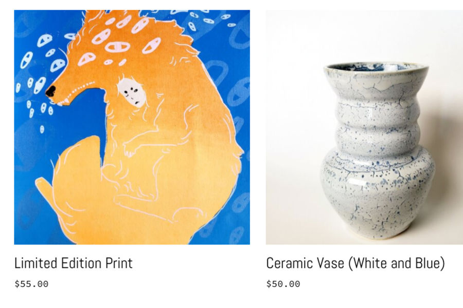 A screen shot of the online store for the ARTshop, a fox print, a ceramic vase and a pillow made of woven textiles
