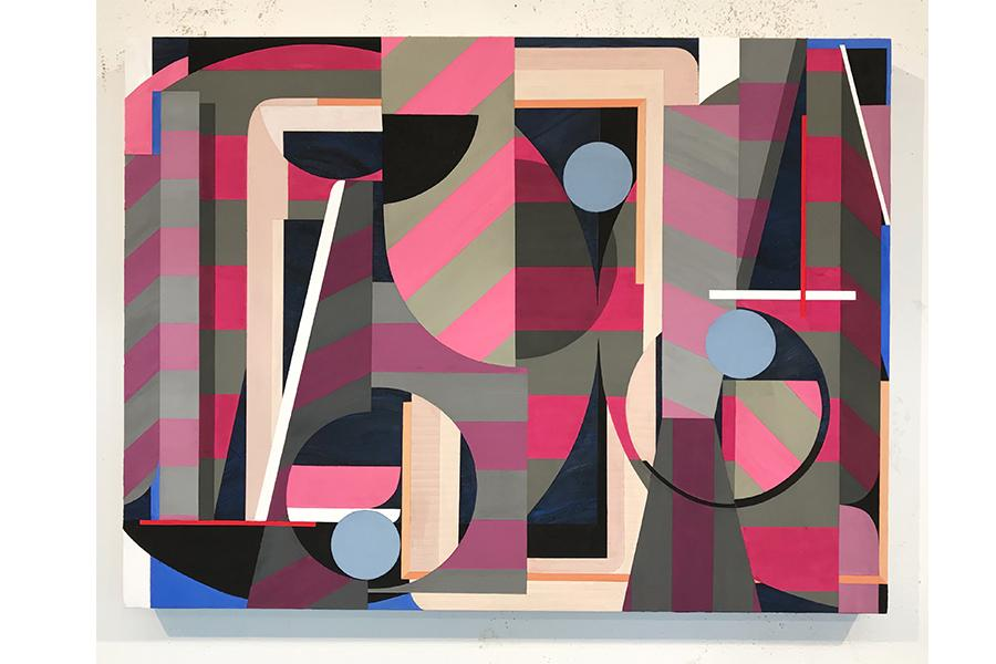 Two paintings one by Gianna Commito geometric shapes in pink and grey, and Shawn Powell, a black and white striped umbrella.