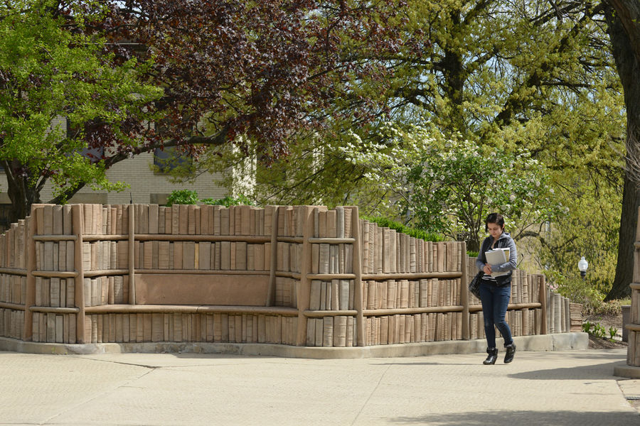 "A Kent State student walks through the ""Behind the Brain Plaza"" near Merrill Hall."