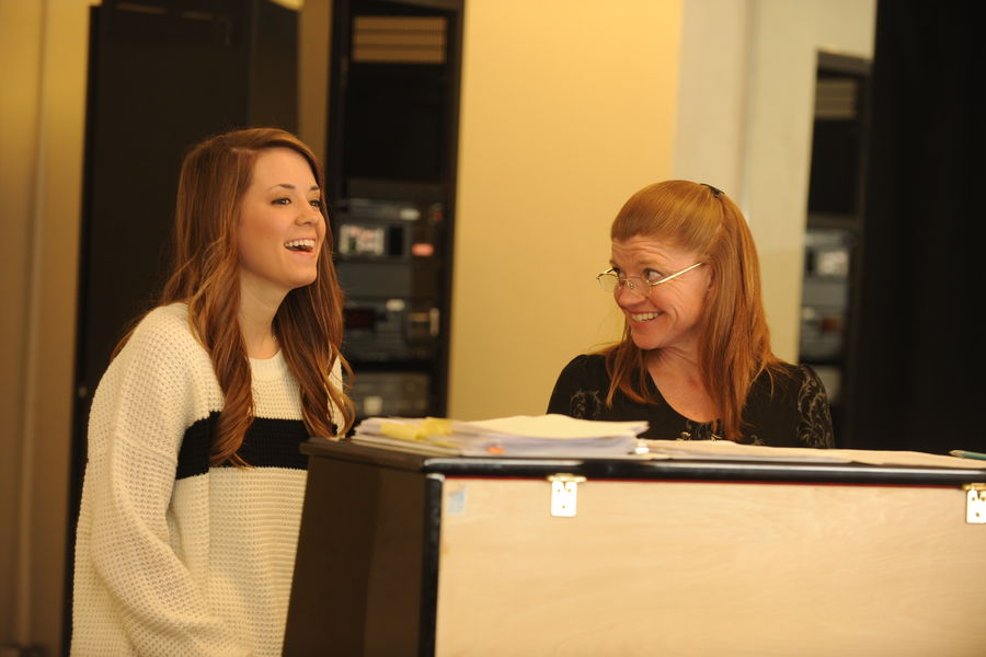 A musical theatre student trains in audition skills with professor Jennifer Korecki