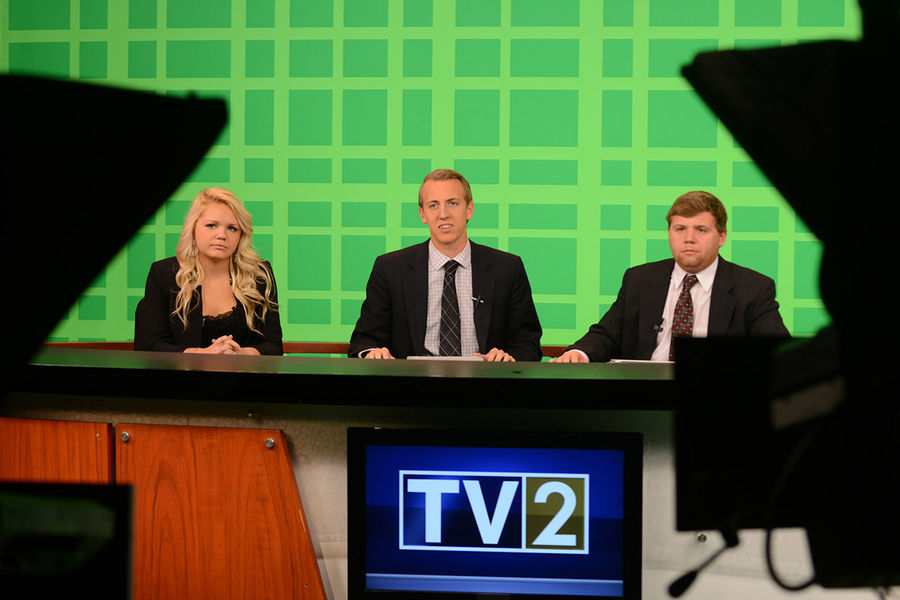 The Kent State TV2 anchors deliver a 5:30 p.m. newscast from the studio in Franklin Hall.