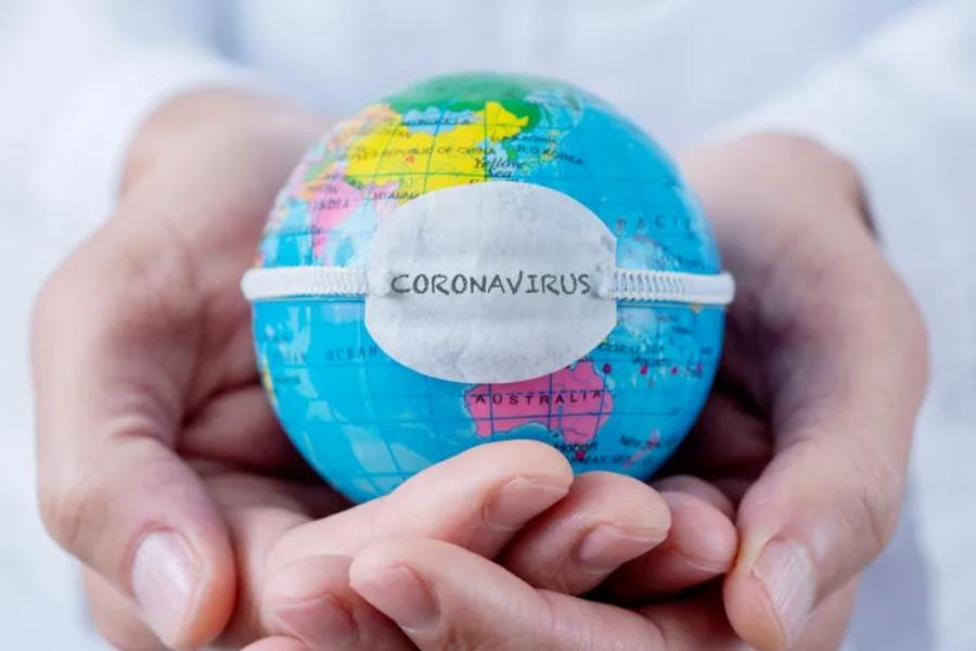 Photo of a globe with the word