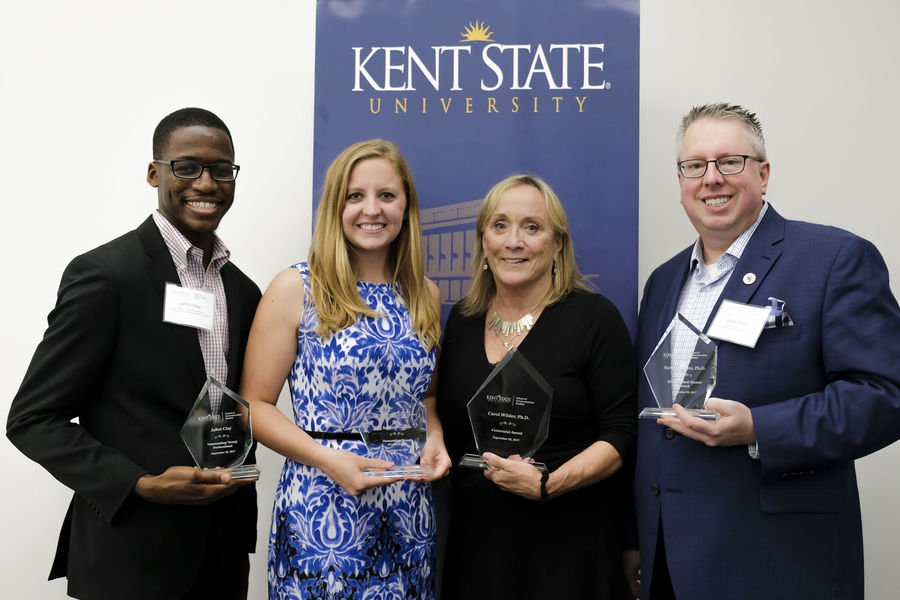 The School of Communication Studies recognized alumni JaRel Clay, Arianne Gasser, Carol Wilder and Scott Myers at its 2017 Alumni Awards.
