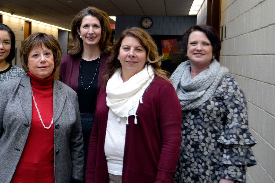 Center for Nursing Research staff. From left: Wimonthip Phuangkhem, graduate assistant; Dr. Mary Anthony, Associate Dean for Research; Denise Karshner, Grants Administrator; Dr. Lynette Phillips, statistical support; Michele Varso, Grants Coordinator