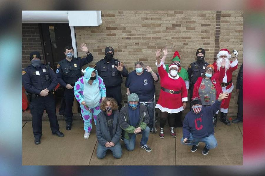 Community members with Santa