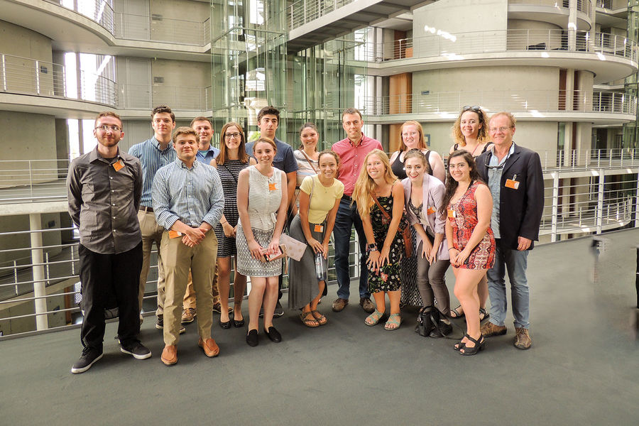 Kent State study-abroad students at the Reichstag, where Germany's parliament meets.