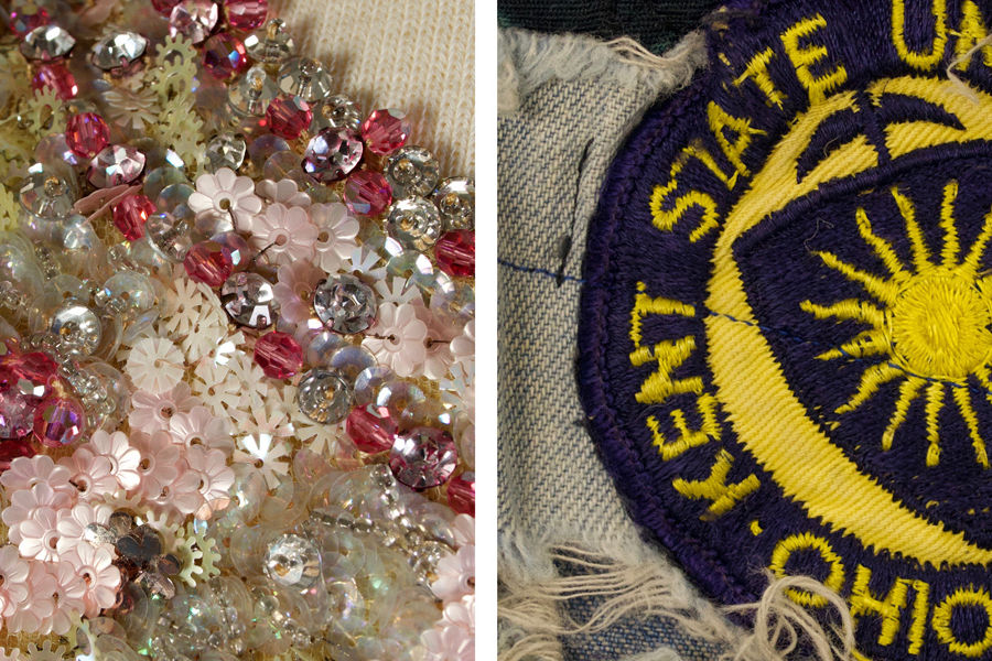 """Beading on a garment representing """"culture"""" and a Kent State University patch on jeans representing the """"counterculture"""" are included in the Kent State University Museum"""