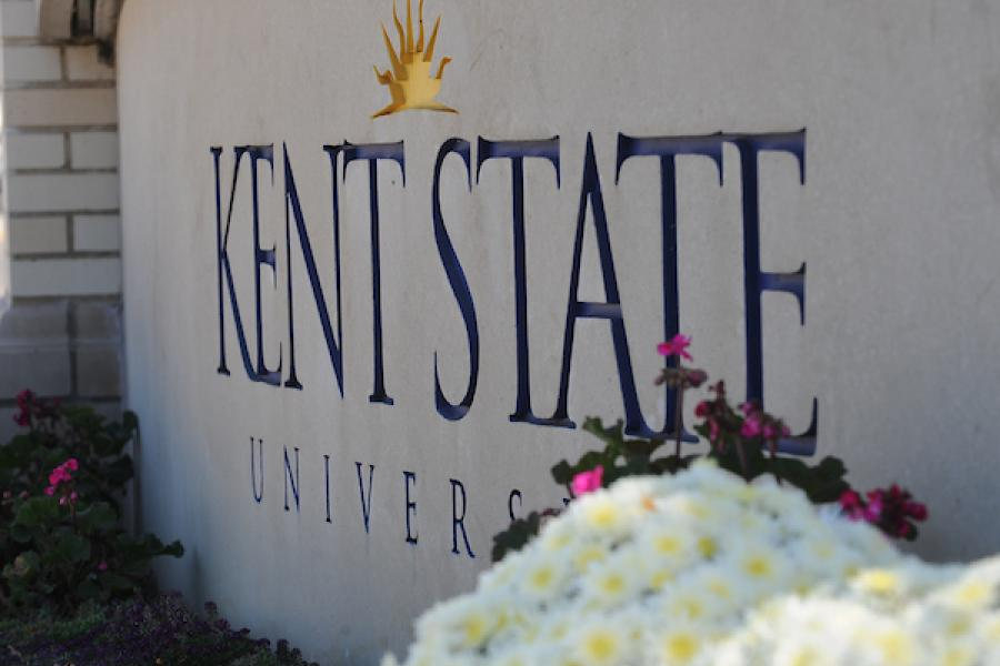 The Kent State University sign is shown.