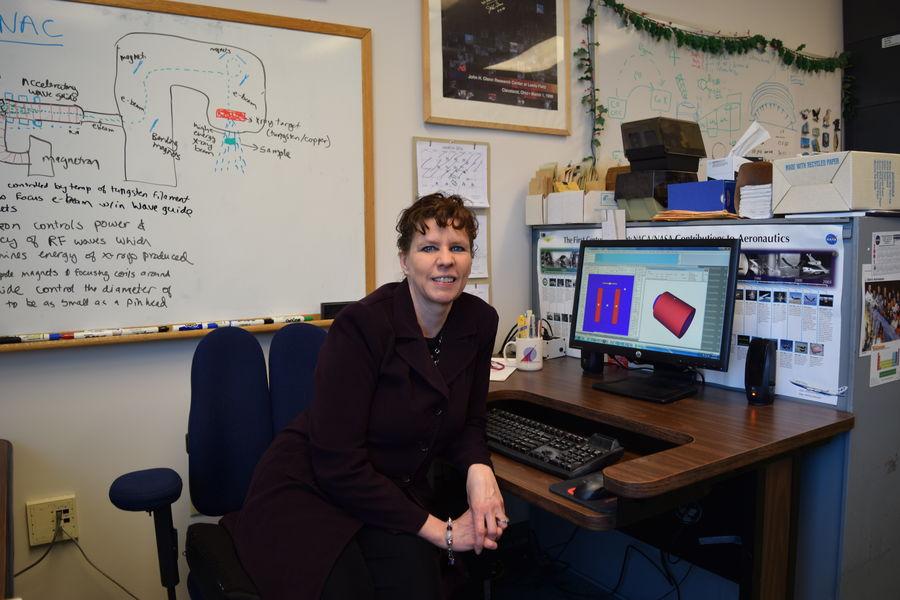 Theresa Benyo at her office at NASA Glenn Research Center
