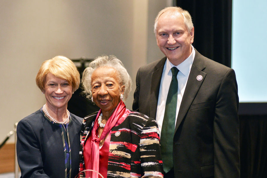President Warren, Dr. Mildred Dixon, and Dr. Allan Boike, dean of the Kent State University College of Podiatric Medicine