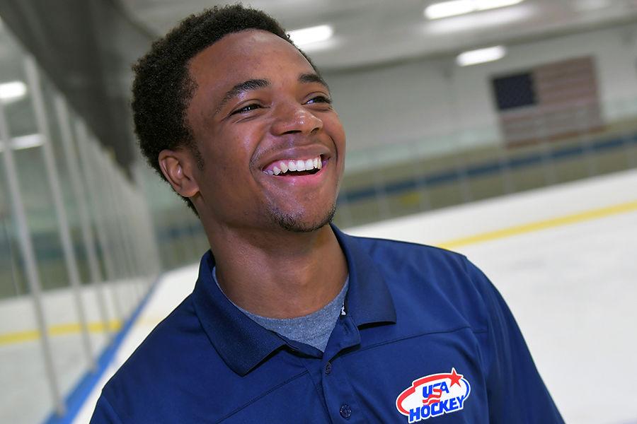 Student Elijah Kirkland-Boyce stands on the Kent State Ice Rink