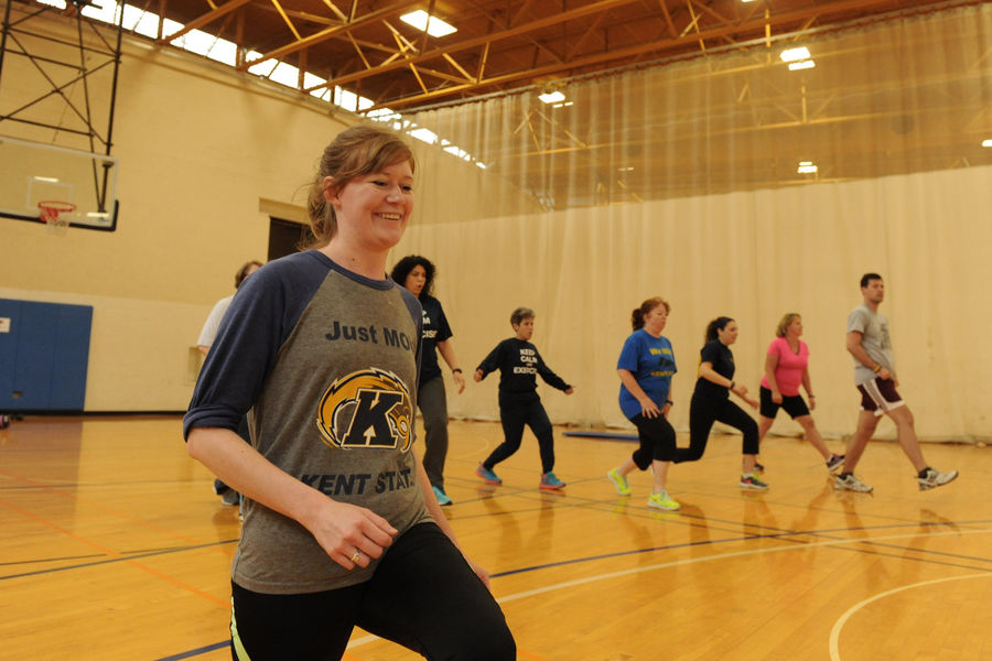 Kent State students help lead faculty and staff in the Fit for Life program.