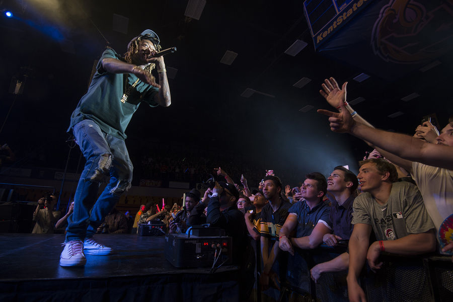 Rapper Wiz Khalifa entertains Kent State students in the MAC Center during FlashFest 2016.