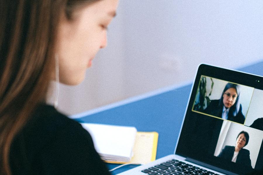 A Women on a Computer Video Call
